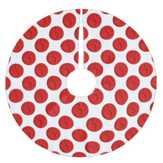 Paw Print Dot - Red Brushed Polyester Tree Skirt