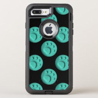 Paw Print Dot - Teal OtterBox Defender iPhone 8 Plus/7 Plus Case
