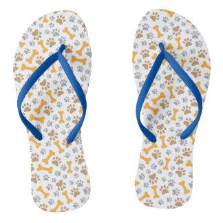Paw print flip flops thongs