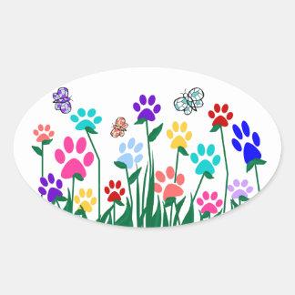 Paw print flower garden Mass Production Oval Sticker