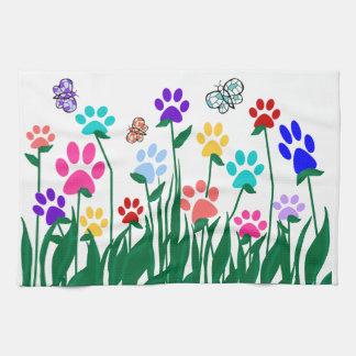 Paw print flower garden Mass Production Tea Towel
