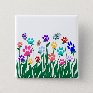 Paw print garden button