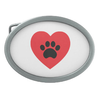 Paw Print Heart Belt Buckle