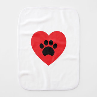 Paw Print Heart Burp Cloth