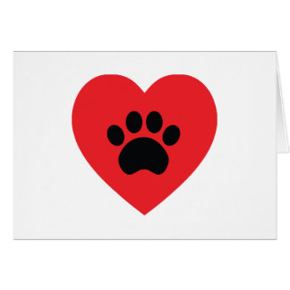 Paw Print Heart Card