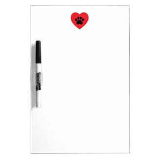 Paw Print Heart Dry Erase Board