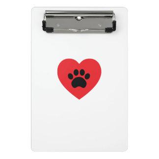 Paw Print Heart Mini Clipboard