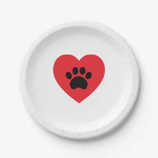 Paw Print Heart Paper Plates