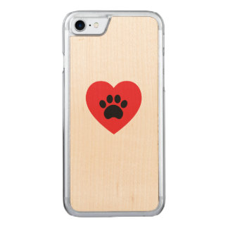 Paw Print Heart Wood iPhone 7 Case