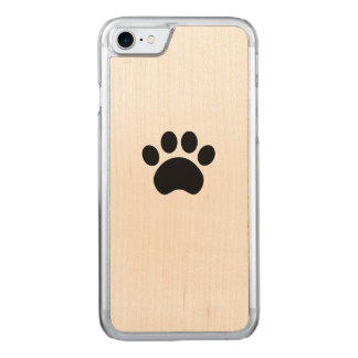 Paw Print iPhone 7 Wood Phone Case