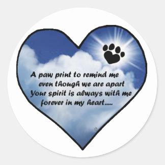Paw Print Memorial Poem Round Sticker