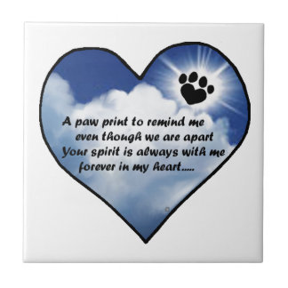 Paw Print Memorial Poem Tile