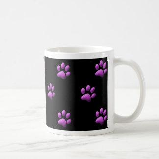 Paw Print Mug Purple on Black