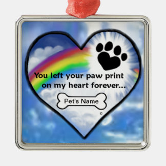 Paw Print On My Heart Silver-Colored Square Decoration