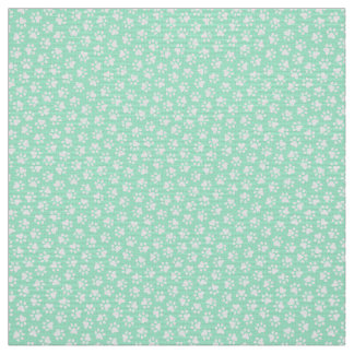 Paw print pattern fabric - mint green and white