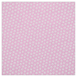 Paw print pattern fabric - pink and white