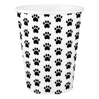 Paw Print Pattern Paper Cups