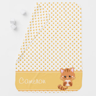 Paw Print Pattern with Cat | Personalized Baby Blanket