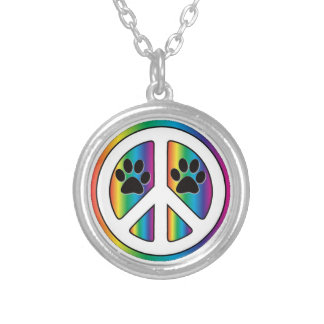 paw print peace sign personalized necklace