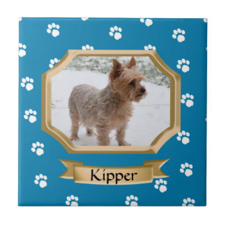 Paw Print Pet Photo Blue Ceramic Tile