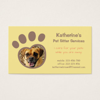 Paw Print Pet Sitter Services Business Cards
