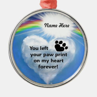 Paw Print Poem Silver-Colored Round Decoration