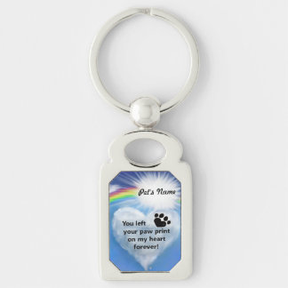 Paw Print Poem Silver-Colored Rectangle Key Ring