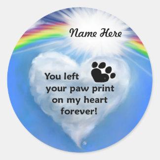 Paw Print Poem Round Sticker