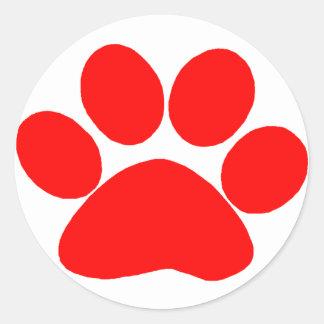 Paw Print (Red) Round Sticker