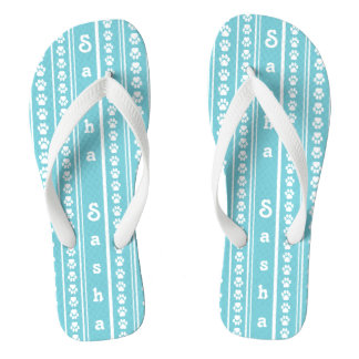 Paw Print Stripe and Name Flip-Flops Thongs