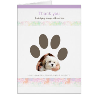 Paw Print thank you for caring pet loss Card