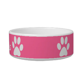 Paw Print ~ With Pets Name Cat Food Bowls