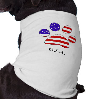 Paw Print with the American Flag Tee Sleeveless Dog Shirt