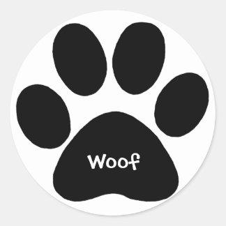 paw print woof classic round sticker