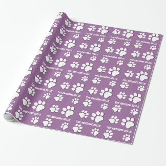 PAW PRINTS and Custom Name V11 WHITE and PURPLE Wrapping Paper