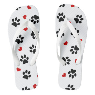 Paw Prints and Hearts Unisex Flip Flops Thongs