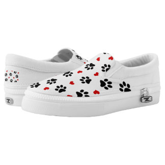 Paw Prints and Hearts Unisex Slip on Sneaker Printed Shoes