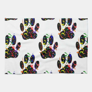 Paw Prints Confetti And Party Streamer Pattern Hand Towels