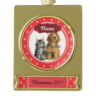 Paw Prints Custom Coral Gold Plated Banner Ornament
