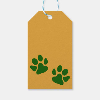 Paw Prints Green Gift Tags