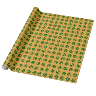 Paw Prints Green Wrapping Paper