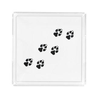 Paw prints of a dog acrylic tray