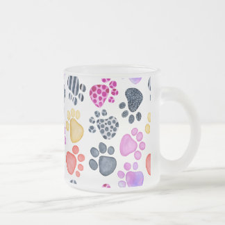 Paw Prints on a Frosted Mug