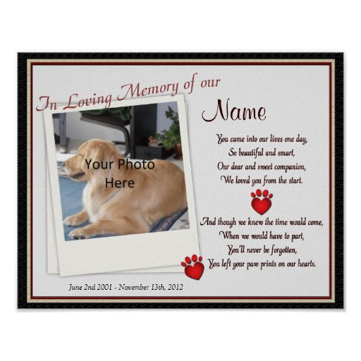 Paw Prints on My Heart Pet Memorial - Dog Cat Posters