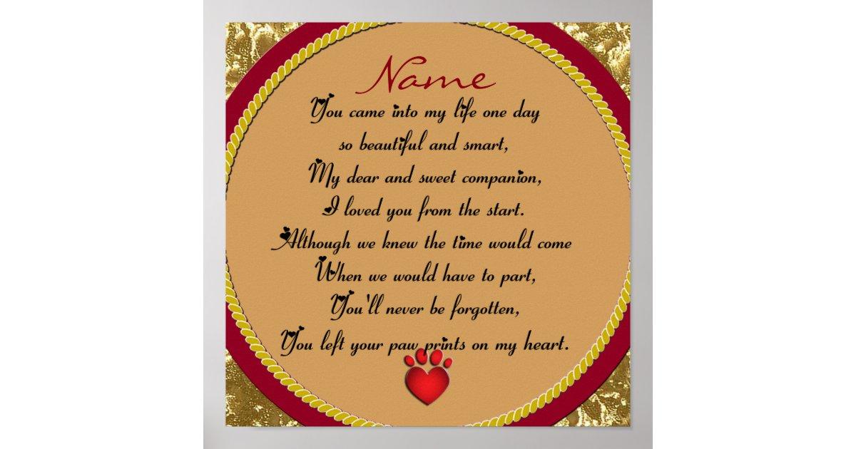 Paw Prints on My Heart Poem Pet Memorial   Zazzle.com.au