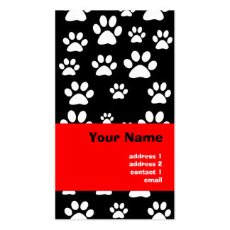 paw prints pattern business cards