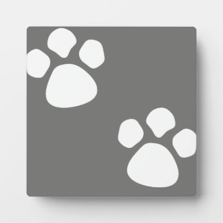 Paw Prints Plaque - Gray