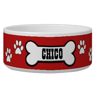 Paw Prints Red Personalised Pet Bowl