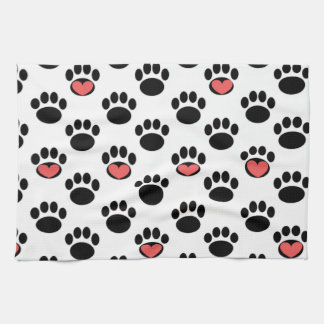 Paw Prints with Hearts Hand Towels