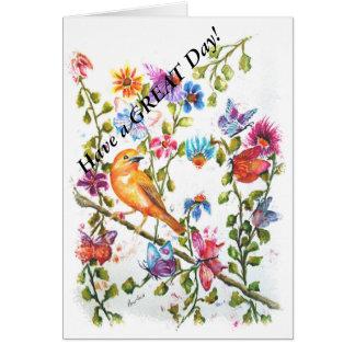 PAW PRINTS YELLOW BIRD CARD